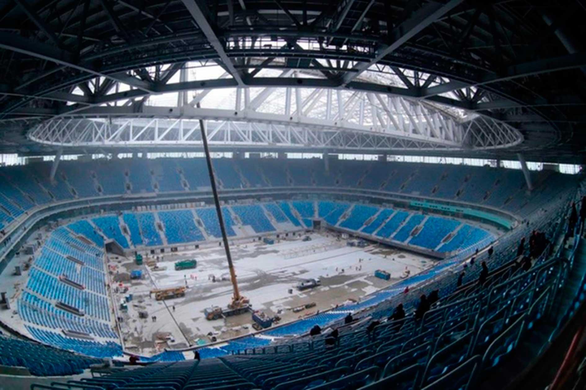 construcción del estadio krestovsky